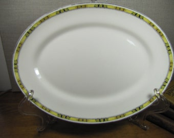 Vintage Serving Platter - Yellow and Black Border