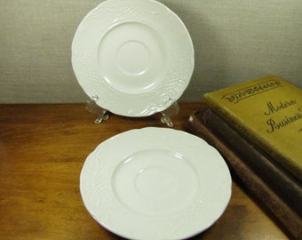Vintage Johnson Bros. Ironstone Embossed White Saucers - Set of Two (2)