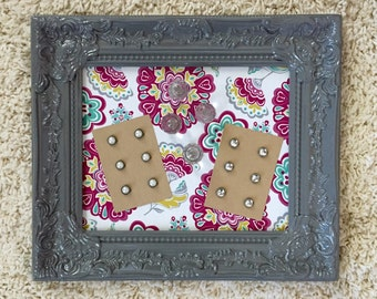 Magnetic memo board - 8x10 gray frame - memo board - nursery decor - magnet board - gray frame - ornate detail - pink and teal fab