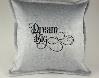 Gorgeous Silver Wedding or Teenager Cushion Cover, with Embroidered Words - Dream Big