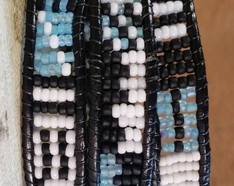 Black, White and Blue Wrapped Bracelet, 21""