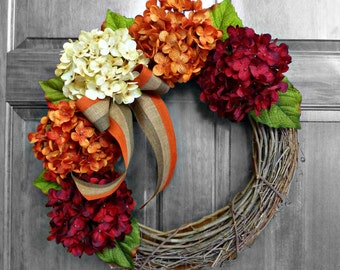 Fall Wreath, Fall Decorations, Hydrangea Wreath, Fall Door Wreath, Thanksgiving Wreath, Autumn Wreath, Front Door Wreaths, Door Wreathe