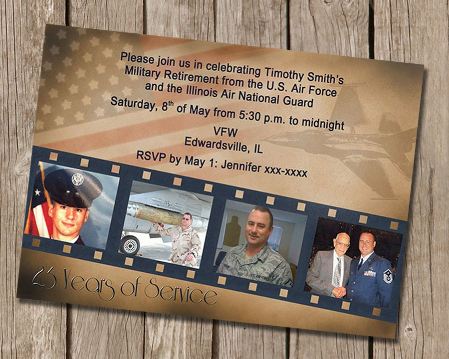 Vintage military retirement party invitation for Air force decoration examples