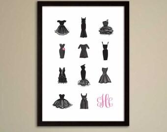Little Black Dress Monogram Print