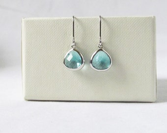 aquamarine earrings silver aqua blue earrings blue drop earrings, blue and silver earring jewelry