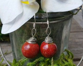 Red Stormy Ceramic Wire Wrap Dangles