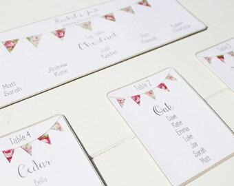Table plan cards, Rustic bunting wedding seating plan