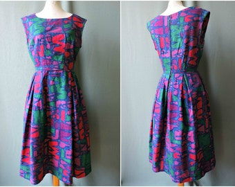 Vintage dress 60's colorful linen blue magenta green   Size S   Early 1960s linen dress bright colours