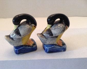 Vintage Ducks Geese Mallard Figurine Set of Two ~ Blue Base ~ Made in Japan