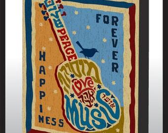 Music Peace & Love Wood Wall Art