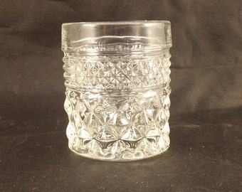 Two (2) Anchor Hocking Wexford Pattern Shot Glass\Votive Candle Holder\Toothpick Holder