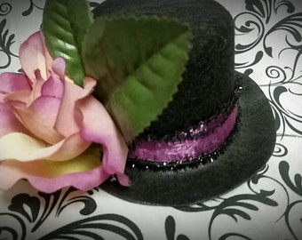 MINA Mini Top Hat -1 of a KIND- Rockabilly,victorian mini hat,Halloween Hat,Mini hat with roses,renaissance faire,lolita,pinup,victorian hat