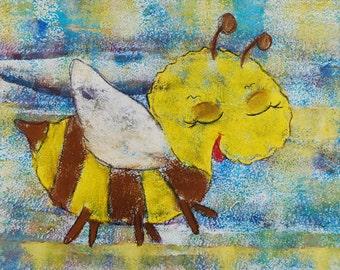 Picture children's bee - original/unique (approx. A3)