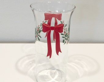 vintage glass Christmas holiday candle hurricane with bow and holly