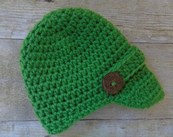 Baby Newsboy Hat, Newborn Newsboy Hat, Boys Crocheted Hat, Baby Boy Photo Prop, Baby Newsboy Hat, Boy Newborn Coming Home, 31 Colors