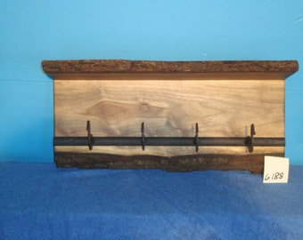 Black Walnut Live Edge  Rustic Coat Hanger