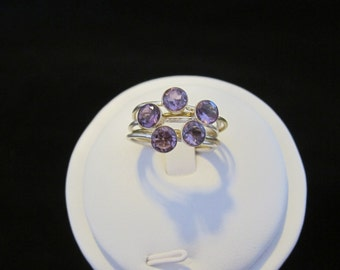 Two Tone Amethyst 8.5 Sterling Silver and Brass Ring (122)