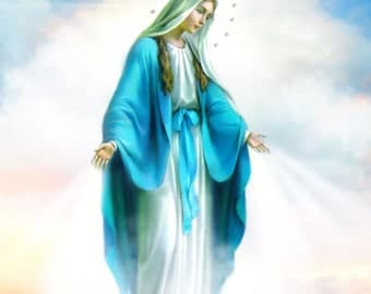 "Miraculous Medal, Our Lady of Grace, Catholic Art, Religious Art, 8x10"" Print by Sandra Lubreto Dettori"