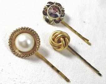 Gold love knot hair pin, pearl and rhinestone hair pins, rhinestone bobby pin cream pearl hair pin, bridal hair pin set wedding hair pin