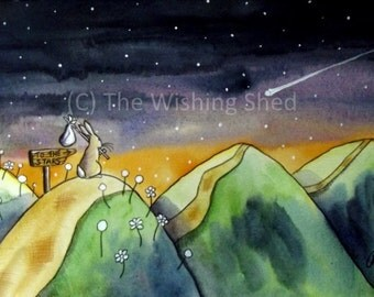 To The Stars - Print Watercolour Painting NURSEY CHILDRENS BEDROOM