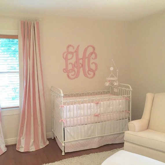 30 Inch Wooden Monogram Painted Light Pink by