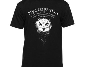 Nyctophilia Night Owl Shirt (owl shirt, owl t shirt, nyctophilia, goth shirt, american made)