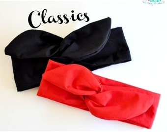 Black or Red Headband - Extra Wide Rockabilly Classic Hair Scarf
