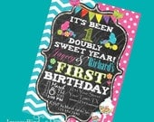 One Sweet Year Twin Birthday Invitation boy girl First Birthday Digital Invite