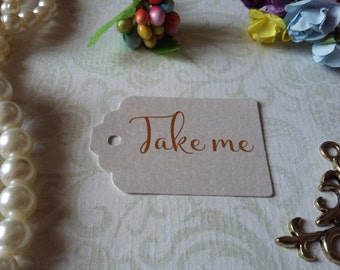 shimmer pearl tag Take me Tags - Alice in Wonderland take me Tags - Tea Party or Wedding Tags - Set of 25 to 300 pieces Mini tag