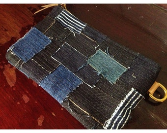 Shibori/Boro bags/Pouch/Purse/Indigo/Patchwork/Japanese/Deep blue/Vintage/Linen/Fabric/Natural hand dyed/Plant dyes/Tie dye/China/Thealese