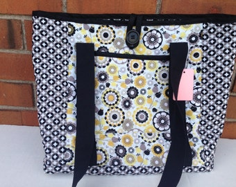Quilted Yellow and Black Tote (112)