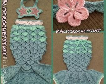Crochet Mermaid Tail pattern PDF INSTANT DOWNLOAD, chevron style fin