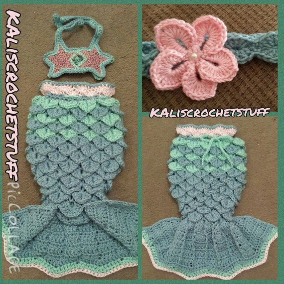 Free Crochet Mermaid Tail Pattern For Adults : Crochet Mermaid Tail starfish halter set size by ...