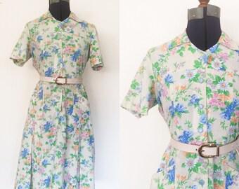 1970s Vibrant Floral Shirt Dress