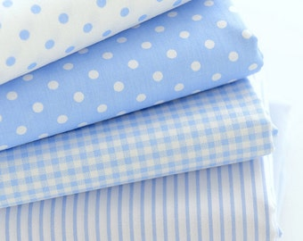 Cotton fabric, Polka dot, Check, Stripe and Solid Fabric, White and Blue,Clean and Tidy   - 1/2 yard