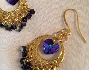 purple crystal earrings II