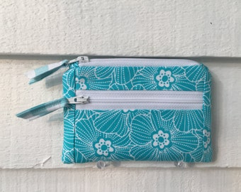 Womens Wallet Small, Small Cloth Wallet, Zipper Coin Purse, Small Change Purse, Small Zipper Pouch, turquoise and white flowers with gingham