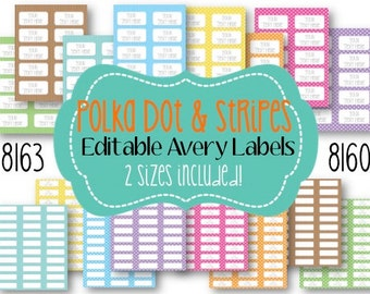 Polka Dot & Stripes Editable Avery Labels (2 SIZES!) 8160 or 8163