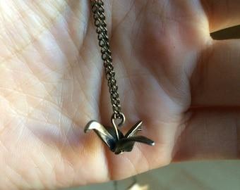 Paper Crane Origami Gold Colour Small Dainty Retro Pendant Necklace