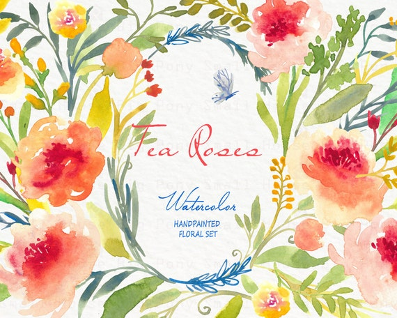 Watercolour Floral Clipart. Handmade, watercolour clipart, wedding diy, flowers - Tea Rose (Bouquets only)