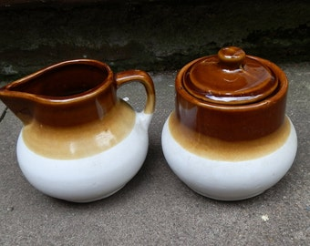 1970's Brown and Cream Stoneware Sugar and Cream Set