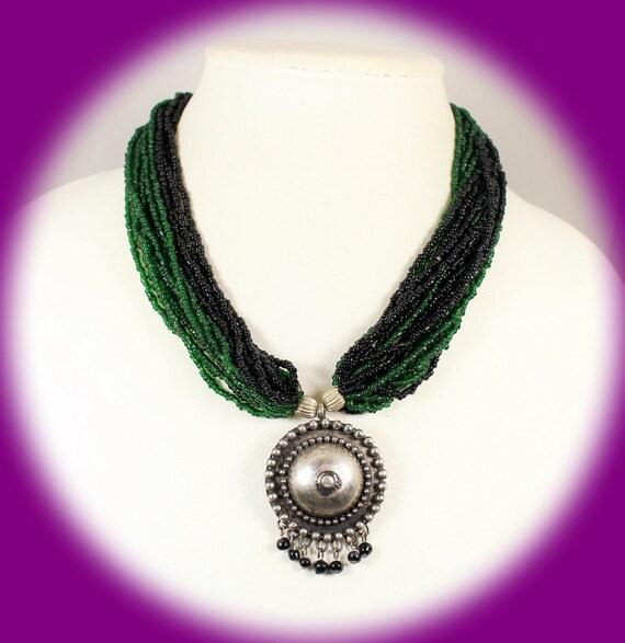 Torsade Necklace: Vintage Statement Necklace Torsade Necklace Dark Green And