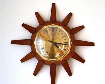 70s mid century Anstey & Wilson starburst sunburst teak wall clock