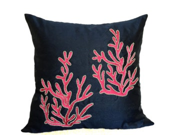 navy coral pillow cover nautical pillow coral reef pillows coral pillow covers sea