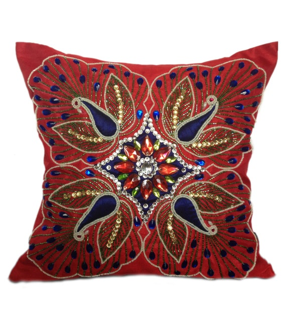 Red Decorative Pillow Peacock pillows Throw by TheWhitePetalsDecor