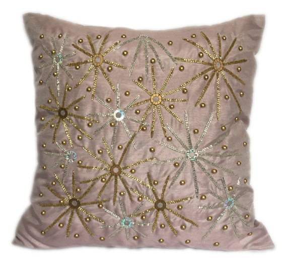 Pink Beaded Decorative Pillow : Items similar to Pale Pink Beaded Pillow 18x18 Pale Pink Beaded Pillow Pale Pink Accent Pillow ...