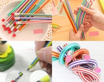 5 pcs/lot Cute Magic Flexible Bendy Soft Standard Pencil Novelty Items Products School Supplies Stationery  P26