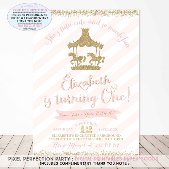 Items similar to Carousel Birthday Invitation Carousel Party – Carousel Party Invitations