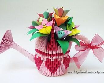 3d Origami Watering Can, Origami Watering Can, 3d Watering Can, Paper Watering Can, Watering Can Flower Pot, 3d Origami Flower Pot