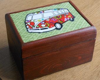 VW Campervan gift/box jewellery/trinket/storage/ decorative wooden box